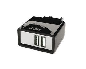Approx Cargador USB de Viaje/Pared Dual 2A Negro