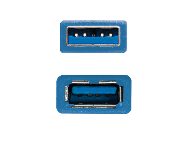 Nanocable Cable USB 3.0 Tipo Alargador Macho/Hembra 1m Azul