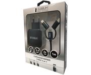 Subblim Cargador 2xUSB 2.4A + Cable 3 en 1 MicroUSB/USB-C/Lightning Negro