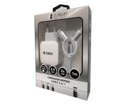 Subblim Cargador 2xUSB 2.4A + Cable 3 en 1 MicroUSB/USB-C/Lightning Blanco